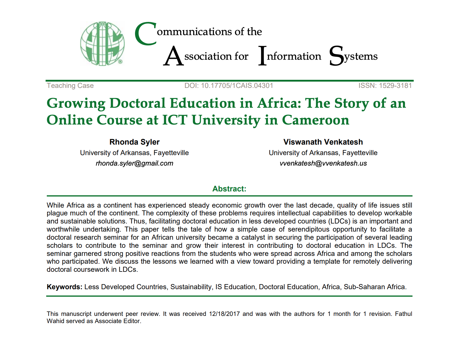 Growing Doctoral Education in Africa: The Story of an Online Course at ICT University in Cameroon