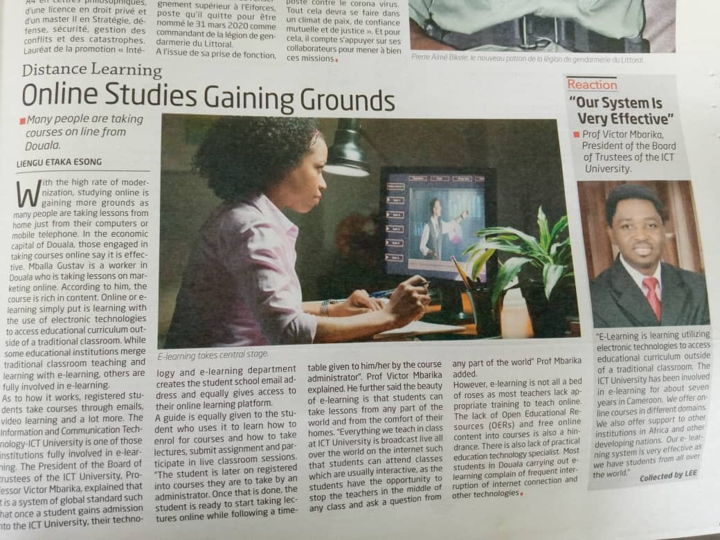 Online Studies Gaining Grounds in Cameroon as ICT University Leads