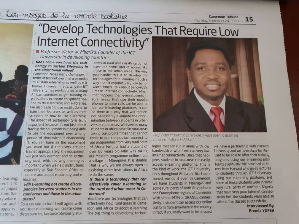 Develop Technologies That Require Low Internet Connectivity – Prof. Victor Mbarika