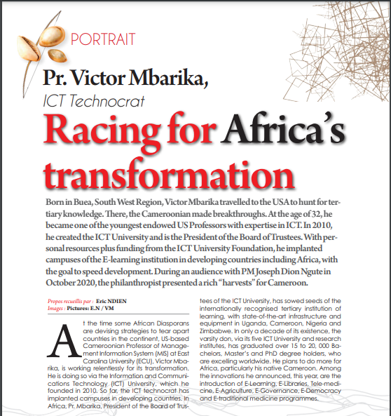 Cameroon Tribune (Cameroon's Largest Publishing House) Magazine Profile Coverage of Professor Victor Mbarika: Who is Professor Víctor Mbarika?