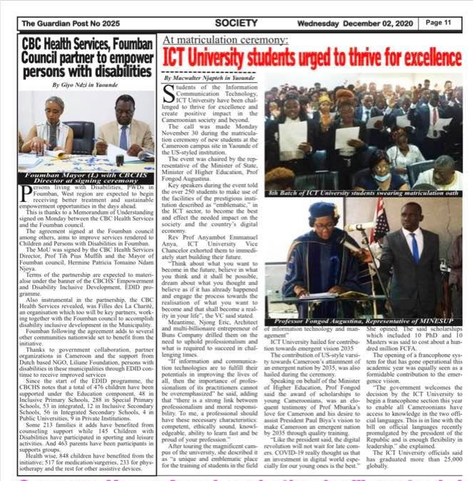 ICT University students urged to thrive for excellence at matriculation