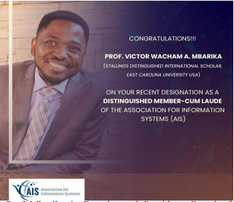 Association for Information Systems: Prof Victor Mbarika named first ever African distinguished member